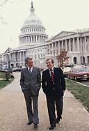 Washington, DC 1979/03/01Senate  Majority Leader Robert Byrd and Senate Minority leader Howard Baker walk and talk at the US Capitol<br />Photo by Dennis Brack