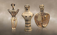 Mycenaean female figurines  from Mycenae tombs, Archaeological Museum Athens. <br /> <br /> Left: Seated Mycenaean female figurine with raies arms, from Mycenae tomb 91,  Cat No 3193. <br /> <br /> Middle: Hollow Mycenaean female figurine, adorant, wearing a necklace, from Mycenae tomb 40,  Cat No 2494. <br /> <br /> Right: Upper part of a Mycenaean female figurine with stylised arms wearing a necklace, from Mycenae tomb 101,  Cat No 4690 .<br /> <br /> If you prefer to buy from our ALAMY PHOTO LIBRARY  Collection visit : https://www.alamy.com/portfolio/paul-williams-funkystock/mycenaean-art-artefacts.html . Type -   Athens    - into the LOWER SEARCH WITHIN GALLERY box. Refine search by adding background colour, place, museum etc<br /> <br /> Visit our MYCENAEN ART PHOTO COLLECTIONS for more photos to download  as wall art prints https://funkystock.photoshelter.com/gallery-collection/Pictures-Images-of-Ancient-Mycenaean-Art-Artefacts-Archaeology-Sites/C0000xRC5WLQcbhQ