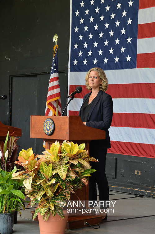 East Meadow, New York, U.S. September 10, 2020. Nassau County Executive LAURA CURRAN speaks at podium during county's commemoration of 19th anniversary of September 11 terrorist attacks with Remembrance Ceremony at Eisenhower Park, with names read of 348 county residents killed that day. Due to COVID-19 concerns, residents were urged to virtually attend ceremony live online. Event was held at Harry Chapin Lakeside Theater, instead of 9/11 Memorial across the pond, because of rain prediction.