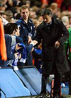 Photo: Daniel Hambury.<br />Chelsea v Real Betis. UEFA Champions League.<br />19/10/2005.<br />Chelsea's manager Jose Mourinho signs autographs for fans.