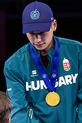 12-01-2019 NED: ISU European Short Track Championships 2019 day 2, Dordrecht<br /> Shaoang Liu of Hungary pose in the Men's 500m medal ceremony during the ISU European Short Track Speed Skating Championships