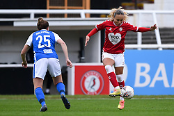 Ebony Salmon of Bristol City Women is marked by Rebecca Holloway of Birmingham City Women - Mandatory by-line: Ryan Hiscott/JMP - 18/10/2020 - FOOTBALL - Twerton Park - Bath, England - Bristol City Women v Birmingham City Women - Barclays FA Women's Super League