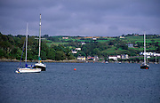 Yachts in the sea with view to Glandore, from Union Hall, County Cork, Ireland