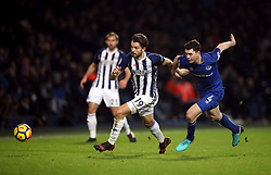 West Bromwich Albion's Jay Rodriguez (left) and Everton's Michael Keane battle for the ball during the Premier League match at The Hawthorns, West Bromwich.
