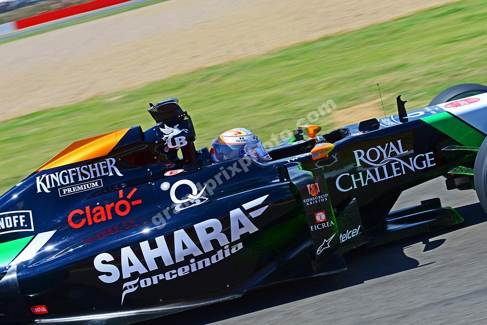 Daniel Juncadella (Force India-Mercedes) during Friday practice for the 2014 British Grand Prix in Silverstone. Photo: Grand Prix Photo
