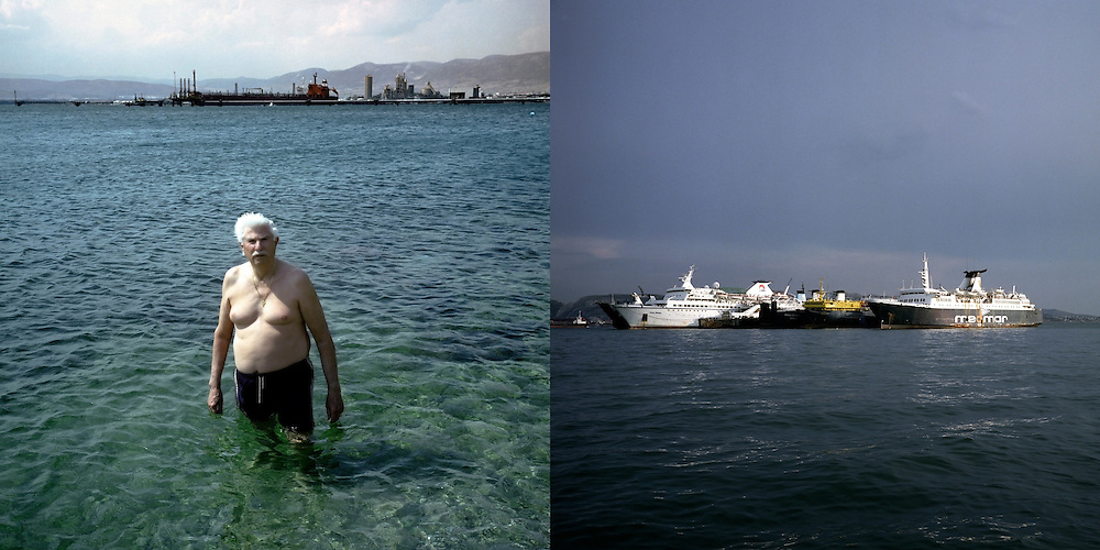 Apostolos is swimming  in Skaramagas bay since he was a child. On the back the Aspropyrgos Oil Refinary. Skaramagas, Saronic Gulf, West Attica.. Moored decommissioned ships at the bay of Elefsina, near the Titan cement plant. Elefsina, Saronic Gulf, West Attica