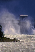 Image of fishing along the Bonneville Dam along the Oregon-Washington Columbia River Gorge, Pacific Northwest by Randy Wells