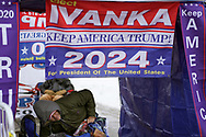 Walter Roach (R), a supporter of U.S. President Donald Trump decorates his tent outside a site for Trump's rally taking place the next day, in Des Moines, Iowa, U.S., January 29, 2020. REUTERS/Rick Wilking