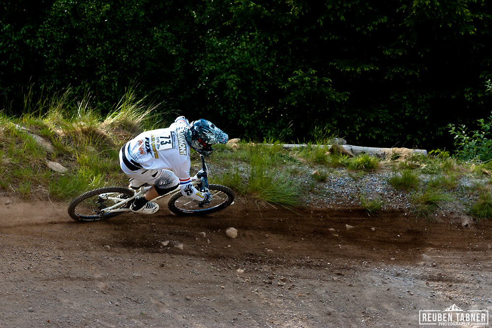 Scott Beaumont (Great Britain) of team Rocky Mountain UK, flys down the course during the qualifying round of the 2010 Four Cross (4X) event at the UCI Mountain Bike world Cup in Fort William, Scotland.