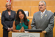 Houston ISD Trustee Diana Davila comments after the Board voted unanimously to name Richard Carranza the sole finalist for the position of Superintendent, July 27, 2016.