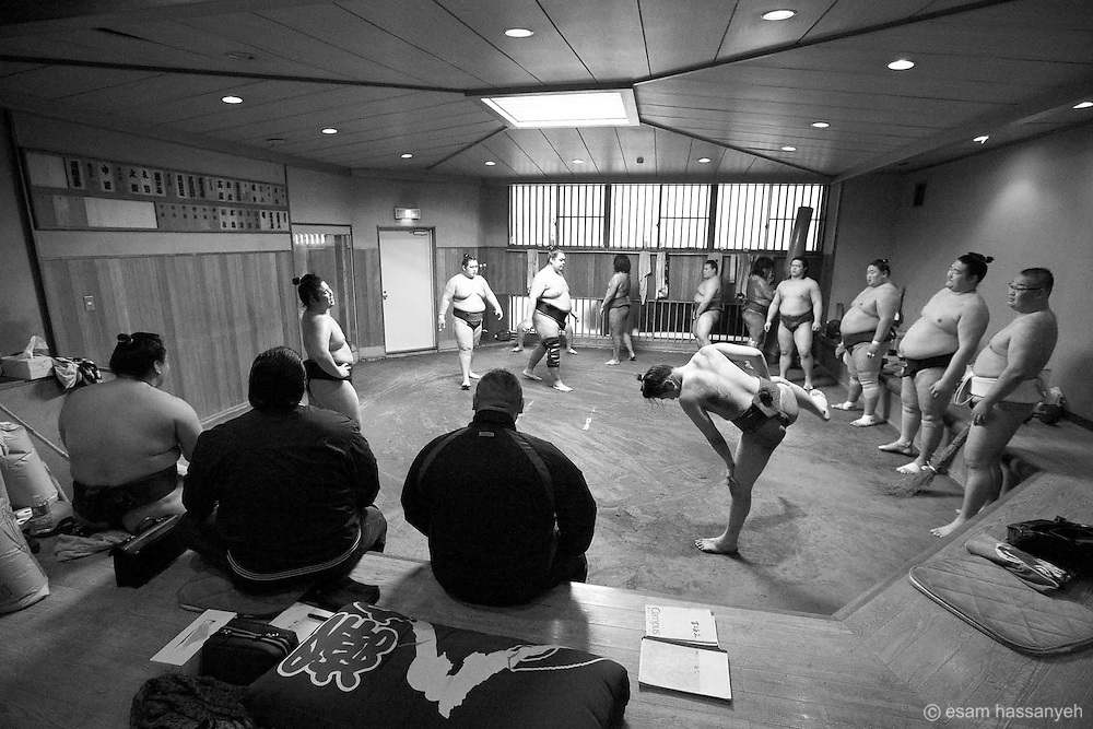 Daily sumo practice is underway in the keikoba (sumo practice area). The atmosphere is disciplined and regimental.<br /> <br /> Sumo of all experience train together but a rigid hierarchy is maintained. Each wrestler occupies the same place every day, with the junior wrestlers arriving first and standing furthest away from the oyakata (trainer sitting in the centre). <br /> <br /> Like many spaces in Japan, the keikoba is small. This visitor friendly beya allows people to sit on the polished wooden floor area to watch daily practice. However, there are strict rules. No one is allowed to set foot on the clay training area or dohyo (ring), talking is forbidden and respect must be shown to sumo traditions all times.<br /> <br /> Watching sumo practice is popular, so it can get very crowded on the tiny viewing area.