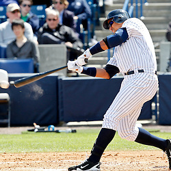 March 4, 2012; Tampa Bay, FL, USA; New York Yankees third baseman Alex Rodriguez (13) at bat against the Philadelphia Phillies during spring training game at George M. Steinbrenner Field. Mandatory Credit: Derick E. Hingle-US PRESSWIRE