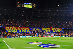 A general view before kick off as Barcelona fans hold up a Lionel Messi banner reading 'God Save The King'  - Mandatory by-line: Matt McNulty/JMP - 14/03/2018 - FOOTBALL - Camp Nou - Barcelona, Catalonia - Barcelona v Chelsea - UEFA Champions League - Round of 16 Second Leg