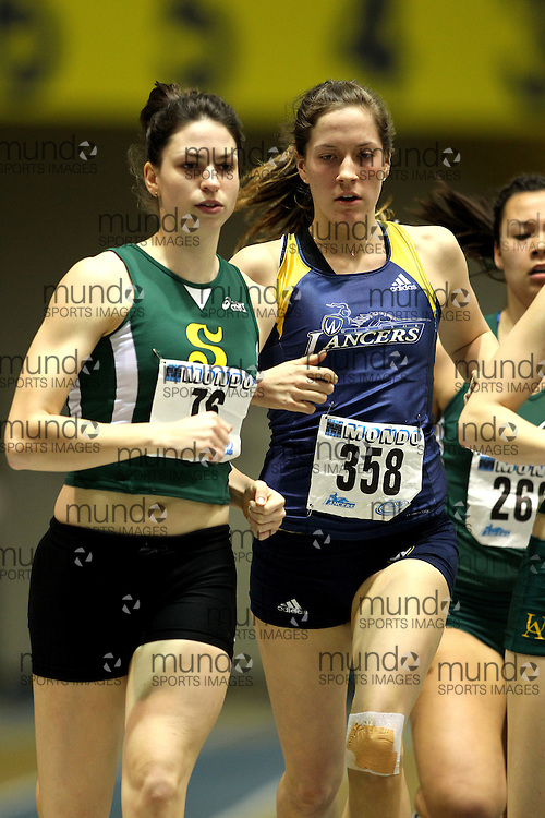 (Windsor, Ontario---11 March 2010) Pascale Delisle of Universite de Sherbrooke competes in the  competes in the pentathlon 800m at the 2010 Canadian Interuniversity Sport Track and Field Championships at the St. Denis Center. Photograph copyright Claus Andersen/Mundo Sport Images. www.mundosportimages.com