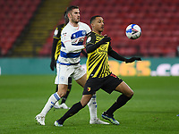 Football - 2020 / 2021 Sky Bet Championship - Watford vs Queens Park Rangers - Vicarage Road<br /> <br /> Joao Pedro of Watford holds off the challenge from Dominic Ball of Queens Park Rangers.<br /> <br /> COLORSPORT/ASHLEY WESTERN