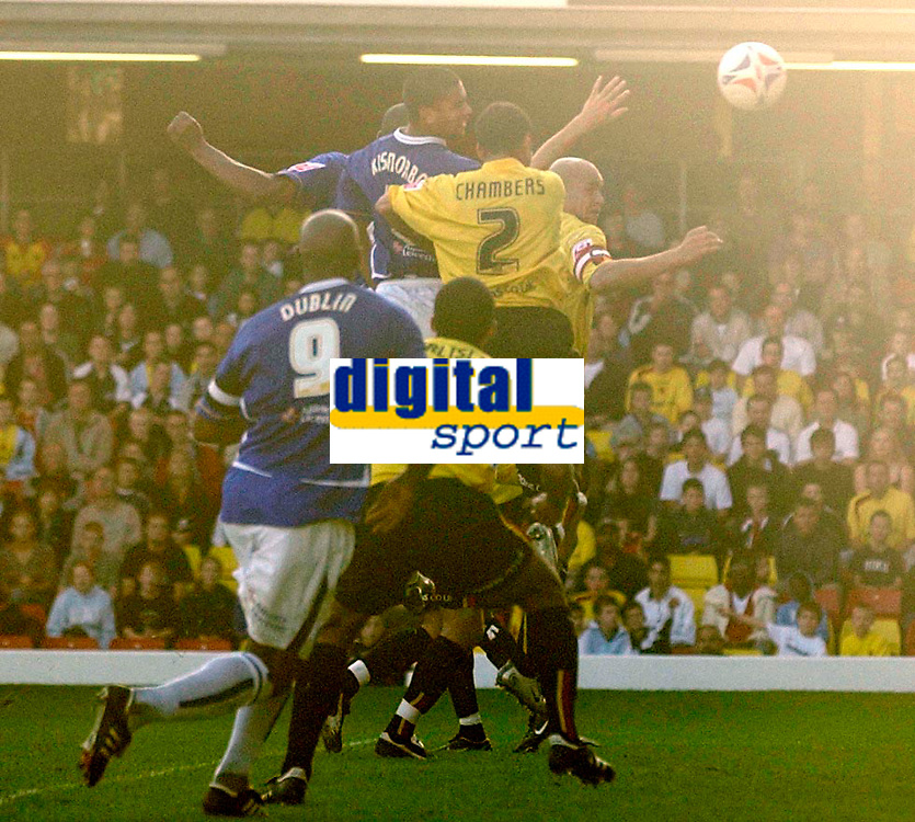 Photo: Daniel Hambury.<br />Watford v Leicester City. Coca Cola Championship.<br />15/10/2005.<br />Leicester's Patrick Kisnorbo rises above the Watford defence to make the score 1-2.
