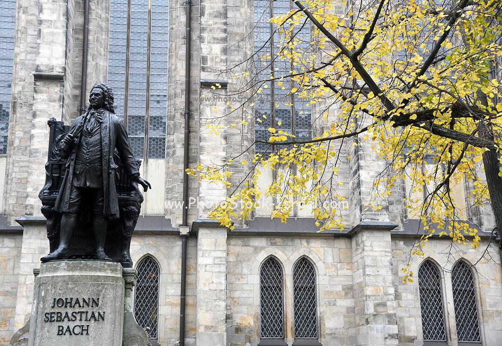 Statue of Johann Sebastian Bach outside of the Thomaskirche, (St. Thomas Church) Leipzig, Germany