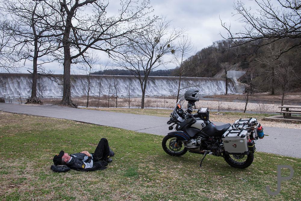 Bill Dragoo taking his afternoon nap at Spavinaw Lake Dam.
