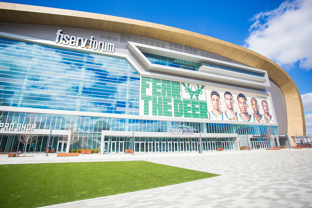 The Fiserv Forum on a sunny day during the Milwaukee Bucks playoff run on April 12, 2019.