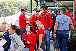 RIESENBECK - FEI Jumping European Championship Riesenbeck 2021<br /> <br /> TEAM Switzerland, Kiss and Cry, FUCHS Martin (SUI), Leone Jei<br /> Impressionen vom Abreiteplatz<br /> Second Qualifying Competition - Round 2 <br /> Team Final<br /> <br /> Hörstel-Riesenbeck, Reitanlage Riesenbeck International<br /> 03. September 2021<br /> © www.sportfotos-lafrentz.de/Dirk Caremans