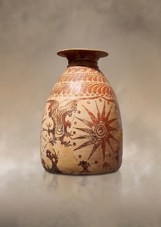 Minoan clay vase with marine design, Speial Palatial Tradition , Knossos Palace 1500-1450 BC BC, Heraklion Archaeological  Museum. .<br /> <br /> If you prefer to buy from our ALAMY PHOTO LIBRARY  Collection visit : https://www.alamy.com/portfolio/paul-williams-funkystock/minoan-art-artefacts.html . Type -   Heraklion   - into the LOWER SEARCH WITHIN GALLERY box. Refine search by adding background colour, place, museum etc<br /> <br /> Visit our MINOAN ART PHOTO COLLECTIONS for more photos to download  as wall art prints https://funkystock.photoshelter.com/gallery-collection/Ancient-Minoans-Art-Artefacts-Antiquities-Historic-Places-Pictures-Images-of/C0000ricT2SU_M9w
