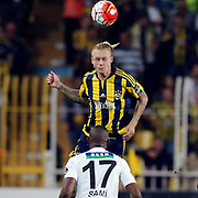Fenerbahce's Simon Kjaer (C) and Akhisar Belediye Genclik ve Spor's Julio Sami during their Turkish super league soccer match Fenerbahce between Akhisar Belediye Genclik ve Spor at the Sukru Saracaoglu stadium in Istanbul Turkey on Sunday 04 October 2015. Photo by Aykut AKICI/TURKPIX