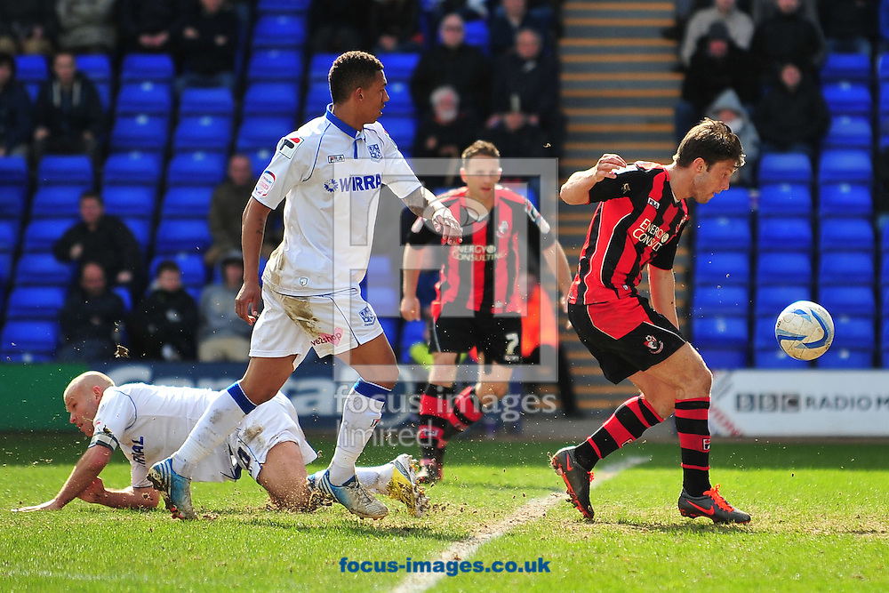 Picture by Ste Jones/Focus Images Ltd +44 7706 592282.27/04/2013.Harry Arter of Bournemouth has a late chance on goal during the npower League 1 match at Prenton Park, Birkenhead.