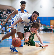 Methacton's Ryan Baldwin (right) #30 and Norristown's Nizer Kinney #24 dive for a loose ball in the second quarter of the Methacton at Norristown basketball game Tuesday, January 21, 2020 at Norristown High School in Norristown, Pennsylvania. WILLIAM THOMAS CAIN / For The Inquirer