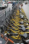 Shanghai: Bike sharing in China has multiplied over the years with various brands offering shared bikes which can be unlocked using an application on your mobile telephone, and then locked and left anywhere for the next rider. Ofo and Mobike are the two world leaders. One of the problems is the huge over supply of bikes, which has meant many startups going out of business, and huge bike cemeteries created on the outskirts of China's mega cities, where hundred's of thousands of bikes are rusting away.