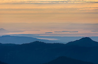 San Juan Islands seen in the distance from Chowder Ridge Mount Baker Wilderness Washington USA