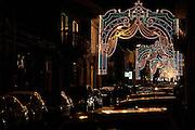 Illuminations in the streets of Trecastagni during the festival of Saint Alfio.