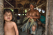 Preparation of a basket with palm leaves in the Amerindian Community of South Rupununi.