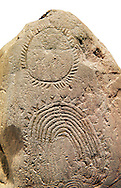 """Prehistoric  petroglyphs, rock carvings, of geometric designs carved by the the prehistoric Camuni people in the Copper Age around the 3rd milleneum BC, Stele """"Bagnolo 2"""" found in 1972 from Malegno near Bangnolo Ceresolo. Museo Nazionale della Preistoria della Valle Camonica ( National Museum of Prehistory in Valle Cominca ), Lombardy, Italy. White  Background .<br /> <br /> If you prefer you can also buy from our ALAMY PHOTO LIBRARY  Collection visit : https://www.alamy.com/portfolio/paul-williams-funkystock/valcamonica-menhir-museum.html<br /> Visit our PREHISTORIC PLACES PHOTO COLLECTIONS for more  photos to download or buy as prints https://funkystock.photoshelter.com/gallery-collection/Prehistoric-Neolithic-Sites-Art-Artefacts-Pictures-Photos/C0000tfxw63zrUT4"""