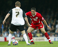 Photo: Chris Ratcliffe.<br />Southend United v Bristol City. Coca Cola League 1. 06/05/2006.<br />Bradley Orr (L) of Bristol City is closes down Mark Gower of Southend United.
