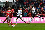 Tom Lawrence (10) of Derby County has his shot at goal blocked by Adam Webster (4) of Bristol City during the EFL Sky Bet Championship match between Bristol City and Derby County at Ashton Gate, Bristol, England on 27 April 2019.