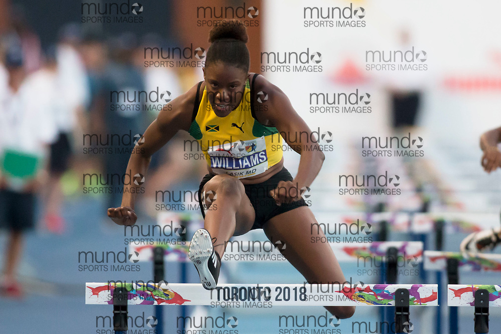Toronto, ON -- 10 August 2018: Danielle Williams (Jamaica), 100m hurdles at the 2018 North America, Central America, and Caribbean Athletics Association (NACAC) Track and Field Championships held at Varsity Stadium, Toronto, Canada. (Photo by Sean Burges / Mundo Sport Images).