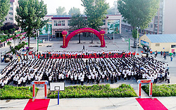 June 7, 2017 - Anyan, Anyan, China - Anyang, CHINA-June 7 2017: (EDITORIAL USE ONLY. CHINA OUT)..People see 1,200 candidates of National College Entrance Examination off at a short ceremony in Anyang, central China's Henan Province, June 7th, 2017. (Credit Image: © SIPA Asia via ZUMA Wire)