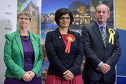© Licensed to London News Pictures.  08/06/2017; Bristol, UK. General Election 2017; THANGAM DEBBONAIRE is returned in Bristol West for Labour at City of Bristol Academy, beating challengers MOLLY SCOTT CATO for the Greens and STEPHEN WILLIAMS for the Lib Dems. Picture credit : Simon Chapman/LNP