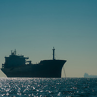 Container ships anchor in San Francisco Bay, waiting to load cargo at docks in either Oakland or San Francisco.