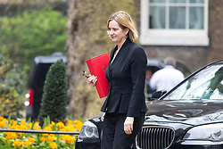 © Licensed to London News Pictures. 12/04/2018. London, UK. Home Secretary Amber Rudd arriving in Downing Street to attend a 'War Cabinet' meeting this afternoon. Discussion is expected on Britain's involvement on military action in Syria, following a suspected chemical attack. Photo credit : Tom Nicholson/LNP
