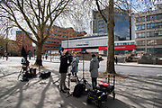 Media outside St Thomas Hospital on 6th April 2020 in London, United Kingdom. Last night Prime Minister Boris Johnson was admitted to St Thomas Hospital for undergoing tests after suffering persistent symptoms of coronavirus for 10 days.  There have been almost 50,000 reported cases of the COVID-19 coronavirus in the United Kingdom and almost 5,000 deaths. The country is in its third week of lockdown measures aimed at slowing the spread of the virus.
