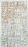 Reconstruction of script used by the Kaqchikel people at Iximche. Parque Arqueologico Iximche, Tecpán, Departamente de Chimaltenango, Republic of Guatemala. 03Mar14.
