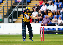 Billy Root of Glamorgan gets off the mark<br /> <br /> Photographer Simon King/Replay Images<br /> <br /> Vitality Blast T20 - Round 4 - Glamorgan v Middlesex - Friday 26th July 2019 - Sophia Gardens - Cardiff<br /> <br /> World Copyright © Replay Images . All rights reserved. info@replayimages.co.uk - http://replayimages.co.uk