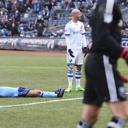 NEW YORK, NEW YORK - March 18: Maximiliano Moralez #10 of New York City FC reacts after shooting wide while clean through during the New York City FC Vs Montreal Impact regular season MLS game at Yankee Stadium on March 18, 2017 in New York City. (Photo by Tim Clayton/Corbis via Getty Images)