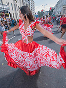 The Tropical flowers Sega Dancers - Crowds flock to see the 50th Notting hill carnival on Bank Holiday Monday.