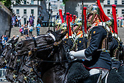 The Blues and Royals of the Houseold Cavalry return down the Mall - The parade on Horse Guards - His Royal Highness the Duke of York reviews the final rehearsal for the Trooping the Colour on Horseguards Parade and the Mall.