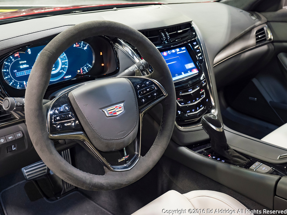 CHARLOTTE, NC, USA - NOVEMBER 17, 2016: Cadillac CTS-V on display during the 2016 Charlotte International Auto Show at the Charlotte Convention Center in downtown Charlotte.