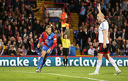 Crystal Palace's Dwight Gayle thinks he has scored by the linesman has flagged for off-side - Photo mandatory by-line: Robin White/JMP - Tel: Mobile: 07966 386802 21/10/2013 - SPORT - FOOTBALL - Selhurst Park - London - Crystal Palace V Fulham - Barclays Premier League