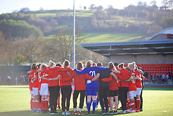 YSTRAD MYNACH, WALES - Wednesday, April 5, 2017: Wales players huddle after the 3-1 win in the International Friendly match against Northern Ireland at Ystrad Mynach. (Pic by Laura Malkin/Propaganda)