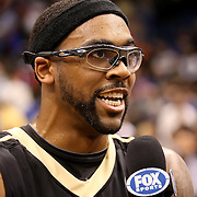 University of Central Florida guard Marcus Jordan (5) interviews after taking on the Florida Gators at the Amway Center on December 1, 2010 in Orlando, Florida. Central Florida won the game 57-54 for their first ever victory against a nationally ranked team. (AP Photo/Alex Menendez)